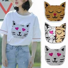 patches for clothes cat design reversible change color sequins sew on patches