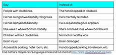 People First Language Chart Tumbl Talk Special Needs Gymnastics Article Highlighting