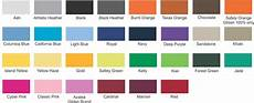 Jerzees Color Chart Color Size Chart