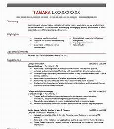 Online Instructor Resume College Instructor Resume Sample Instructor Resumes