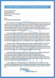 Letter Of Recommendation Sample Letters Letter Of Recommendation For Internal Medicine Residency