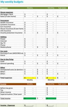 Weekly Expenses Weekly Budget Spreadsheet Budget Templates