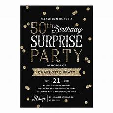Free Surprise Birthday Party Invitations 50th Glitter Confetti Surprise Party Invitation Zazzle Com