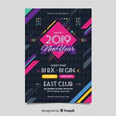 Vector Poster New Year Party Poster Template With Geometric Shapes