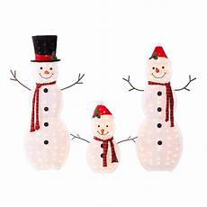Lighted Snowman Family Set Of 3 Holiday Time Light Up Outdoor 3 Piece Snowman Family