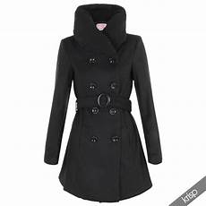 womens breasted woollen padded collared neck fitted
