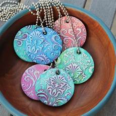 damask polymer clay pendants 3