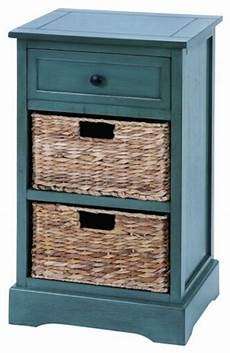 woodcraft style cabinet with 2 wicker baskets