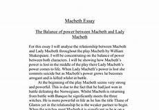 Macbeth Essay Conclusion The Balance Of Power Between Macbeth And Lady Macbeth