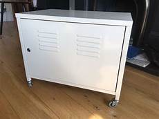 ikea ps white metal cabinet on wheels in park