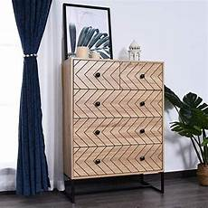 homcom 5 drawer chest sideboard cabinet storage unit