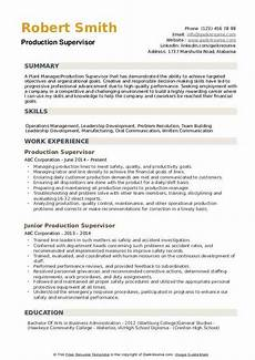 Production Supervisor Resume Samples Production Supervisor Resume Samples Qwikresume