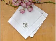 Set of 4 Monogrammed Linen Dinner Napkins w/ 1 Initial  Font J