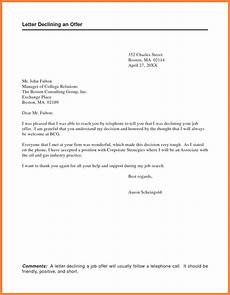 Decline Letter 5 Decline Offer Letter Marital Settlements Information