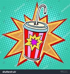 Pop Art Food Cola Paper Cup Straw Fast Food Pop Art Retro Style