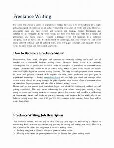 Examples Of Freelance Jobs Free Lance Writing Job Description