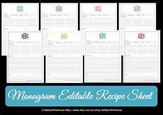 Editable Recipe Page Template Monogram Recipe Sheet Editable Recipe Card Preppy Template