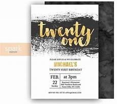 21 Bday Invites Modern 21st Birthday Invitation For Men With Gold Foil Any