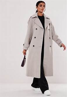 trech coats gray belted oversized trench coat missguided