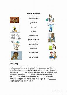 Daily Job Activities Daily Routine Vocabulary Match Worksheet Free Esl