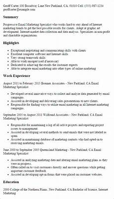 Marketing Specialist Resume Sample Email Marketing Specialist Resume Template Best Design