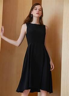 black clothes vintage neck 16mm silk black dress