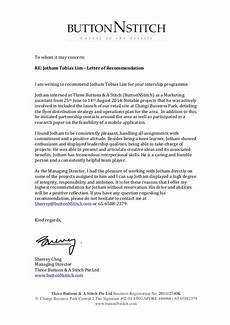 Recommendation Letter Signature Internship Recommendation Letter