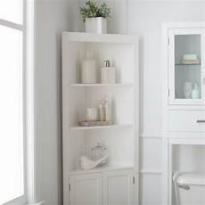 classic white freestanding bathroom corner storage cabinet