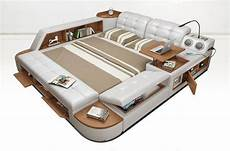 all in one bed post modern style real leather king size