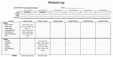 Fitness Log Example Free Workout Log Template Sports Science Co