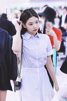 blue white gradient dress jennie blackpink k fashion