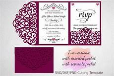 Tri Fold Invitation Templates Tri Fold Wedding Invitation Pocket Envelope Svg Dxf Template