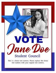 Student Council Poster Template Customizable Design Templates For Class President