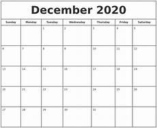 Free December 2020 Calendar December 2020 Print Free Calendar