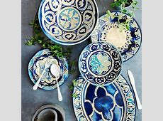 Beautiful Blue Byzantine Melamine Platter and dinnerware