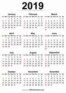 Free Printable Yearly Calendars 2020 Printable Calendar 2019 Calendar Printable Yearly