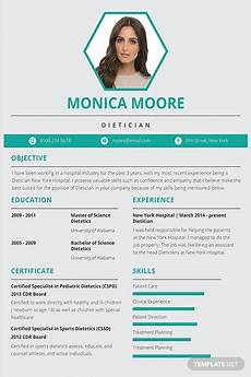 Resume Templates For Publisher Free Dietician Resume And Cv Template In Adobe Photoshop