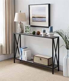 grey black metal frame 2 tier entryway console sofa table