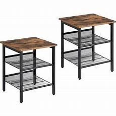 living room end table set of 2 industrial nightstand