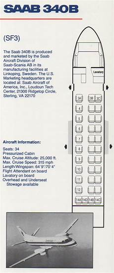 American Eagle Seating Chart Vintage Airline Seat Map American Eagle Saab 340b