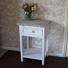 antique white 1 drawer bedside table with shelf lyon