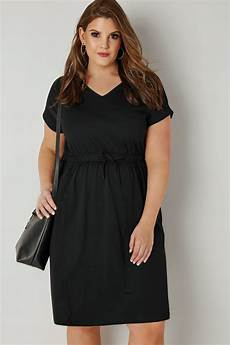 size 16 clothes black jersey t shirt dress with drawstring waist plus