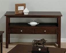 wood sofa table in milton cherry finish w 2 drawers