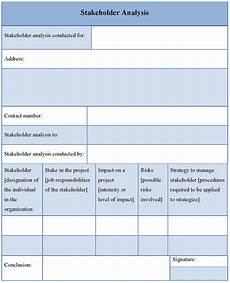 Stakeholder Analysis Template Analysis Template For Stakeholder Format Of Stakeholder