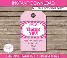 Party Favor Tag Rockstar Party Favor Tags Pink Thank You Tags