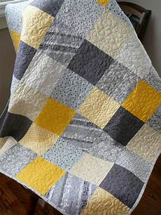 patchwork quilt modern squares in yellow gray and black