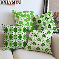simple creative green geometric leaf pattern printed linen