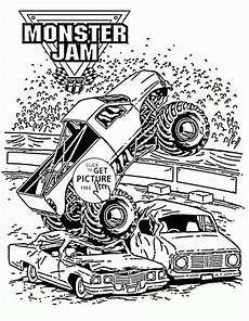 smashing truck jam coloring page for