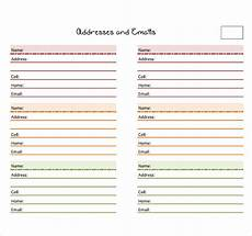 Name And Address Template Word Free Download Address Book Template Programs Filecloudby