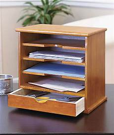 new desk mail organizer 1 drawer 4 slot solid wood